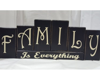 Family Is Everything Antiqued Wood Bock Set