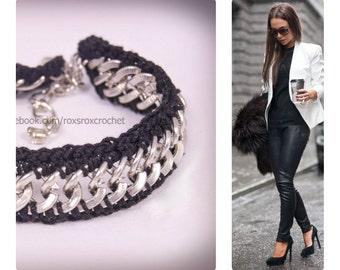 crocheted crochet bracelet black non tarnish silver plated chain 100% pure cotton urban grunge style stylish uk