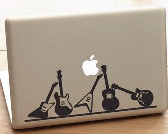 macbook pro guitar decal, guitar decal, guitar sticker, electric guitar sticker, rock music decal, guitar lover decal, guitar art, music