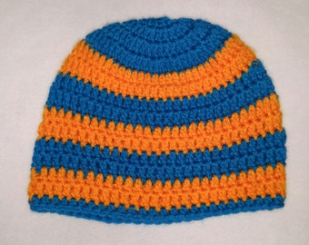Turquoise and orange striped beanie