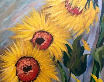 Sunflower painting, sunflower decor, sunflower acrylic painting, sunflower art, home decor, sunflowers, painting, art, sunflowers art, soft