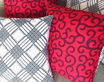 Red & Black Throw Pillow // Ankara Wax Print Decorative Pillow // Couch Pillow Cover // African Home Decor // Print Throw Pillow Cover