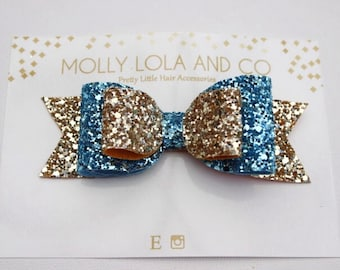 Gold and Blue Glitter Hair Bow. Oversized. Gold and Blue Glitter Hair Accessory - Hair Bow - For Children and Adults.
