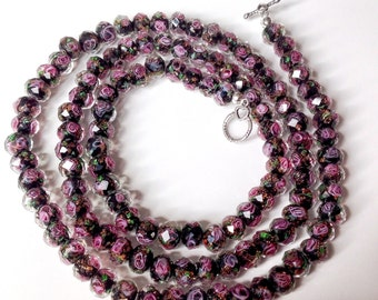 Black and Rose Faceted Lamp Work Glass Necklace