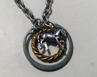 Mixed Metal Industrial Horse Pendant Necklace
