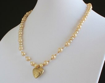 Warm White Faux Pearls with Crystals and Vintage Heart Pendant