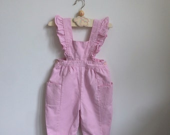Scandinavian Vintage Toddler Pink Overalls with Flounces on the Shoulder Straps 6-18 months, Girl's Retro Pink Pants with Pockets