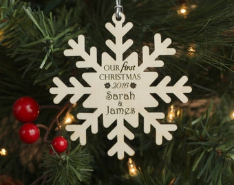 Our First Christmas Snowflake Ornament - Personalized Wood Christmas Ornament - Gift for Newlyweds - Just Married Custom Ornament