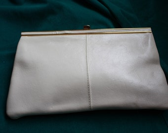 Cream Leather Jane Shilton Clutch 1970s