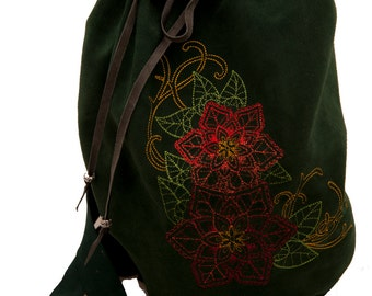 Red and green leather bag with light poinsetta embroidery winter fashion drawstring bucket bag duffle duffel overnight larp Christmas purse