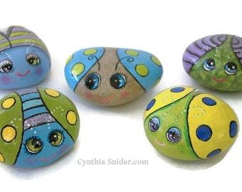 Painted rocks,cute bug rocks,garden rocks,Garden decor,polka dots and stripes,big eyed bugs,painted bug stones,fun for kids,cute rock art