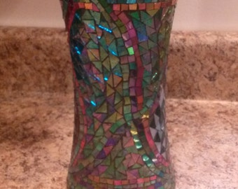 Handmade stained glass mosaic vase