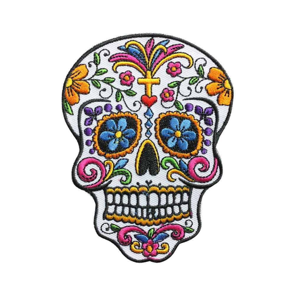 White Sugar Skull Patch Iron On Patches