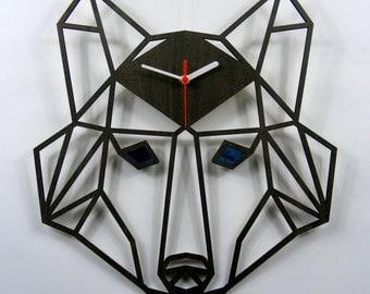 Geometric Low Poly Wolf Wall Clock