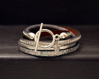 Leather two strap all silver towers Swarovski Crystal