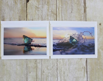 Boris Darling Note Cards Set- Sea Glass- Photography- Set of Two (2) - Prints, Beach, Ocean, Seaglass, Letter Writing Nature, Art, Blank
