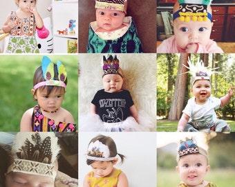 Custom Feather Crown, Kids Feather Crown, Hippie Kids Headband, Bohemian Kids Birthday, Feather Headband, Feather Headdress, Flower Crown