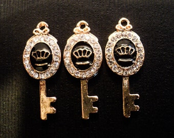3 pc Chanel Inspired Charm Enamel Gold Plated Key