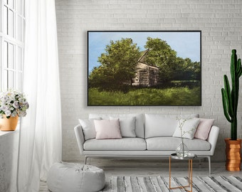 Abandoned house art, large oil painting, house painting, rural landscape art, tree painting, landscape painting by Sarah Hultin, large