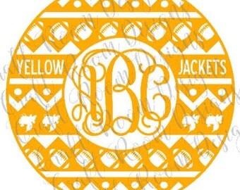 Yellow Jacket Aztec Monogram Frame Digital Design