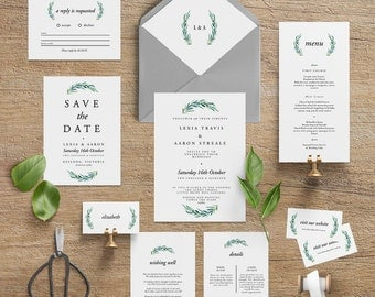 "Printable Wedding Invitation Suite ""Beatrix"" - Printable DIY Invite, Affordable Wedding Invitation"