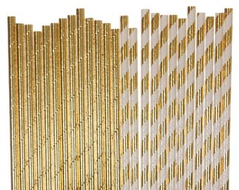 Paper Straw Mix, Gold Foil Solid and Striped Paper Straws, Golden Birthday Supplies, Gold Anniversary Straws, Bling Bachelorette Party Straw