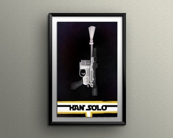 BLASTER PISTOL POSTER* Han Solo Blaster Pistol Illustration* Graphically Designed Wall Art* A4 A3 A2 Prints Available