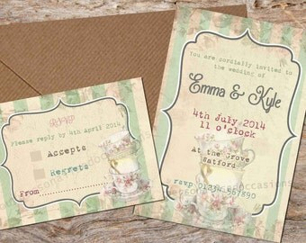 Green Tea Party Wedding Invitations, RSVPS, or Poems - x 10