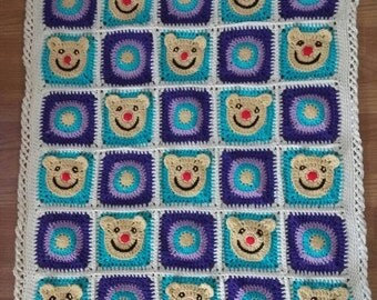 SUMMER SALE!!! Funny Baby Bear Afghan Blanket / Crochet Blanket / Baby Blanket / Afghan Blanket / Crib Blanket / Crib Bedding