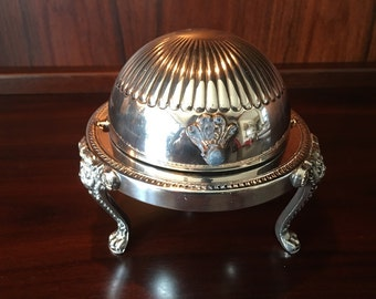 F.B. Rogers Silver Company Silver Plate Rolling Lid Spherical Butter Dish with Lion's Head Claw Feet