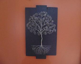 Large 3D Tree on Gray Pine Wood