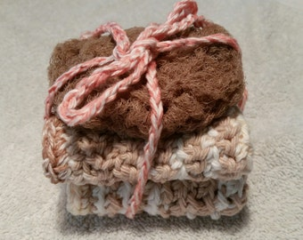 Set of 2 dishcloths and scrubbie