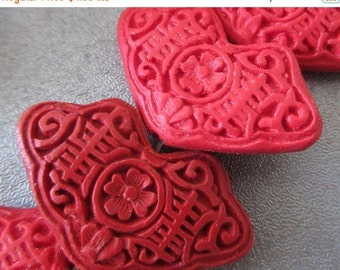 ON SALE Carved Red Cinnabar Beads 2pcs