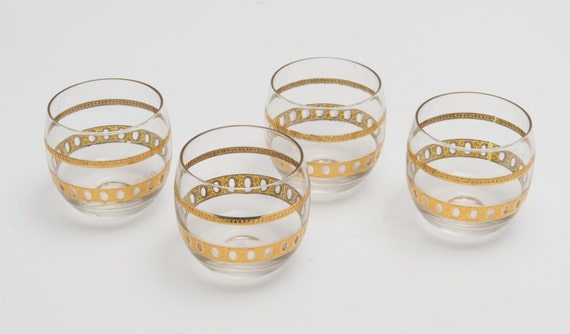 Set of 4 Vintage Moroccan low glass with gold plait detail