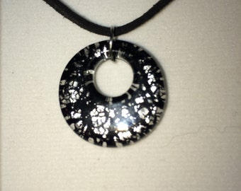 Black and Silver Pendant with Suede Cord