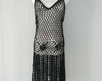 Black Crochet Fishnet Dress V Neck