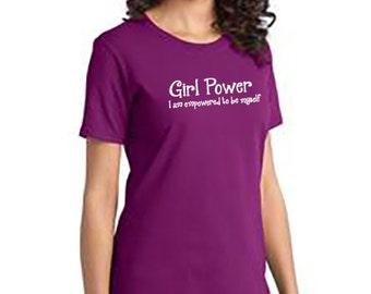 Customized Girl Power Ladies Crew Neck Tee