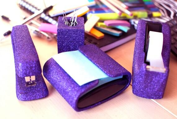 Purple Glitter Tape Dispenser, Lilac Glitter Tape Dispenser, Office Supplies,  Glitter Office Supplies, Tape Dispenser, Purple Office Supplie