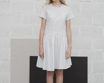 Minimalist Dress, White Cotton Dress, Boho Clothes, Pleated Dress, Designer Clothing, Italian Dress, Day Dress, Womens Clothes,FREE SHIPPING