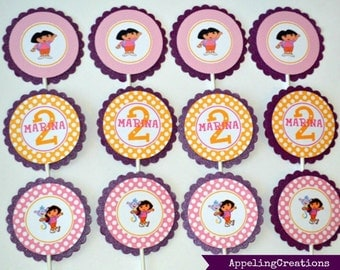 Dora Cupcake Toppers, Dora Birthday, Dora Cupcakes, Dora the Explorer Toppers, dora, appelingcreations, cupcakes, party favors