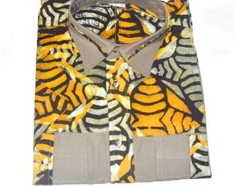 African Print Short Sleeve Button down Shirt  .