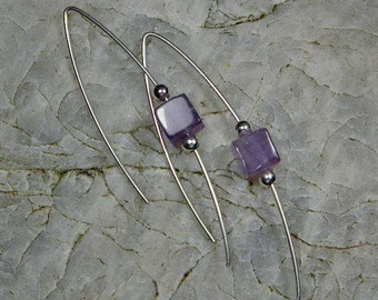 Sterling silver amythest chandelier earrings handmade Square1Jewellery
