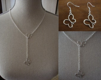 "New silver adornment made hand ""Butterfly summer"" consisting of a necklace and a pair of earrings"