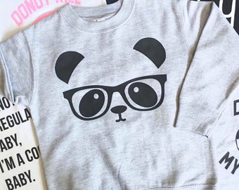 Panda Bear Sweater - Unisex Hipster kids clothes - Sibling Sweater - Kids Panda Bear - Little Sister - Little Brother Shirt  -  Trendy Kid