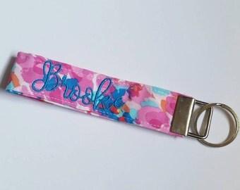 Personalized Fabric Key Fob, Custom Key Chain, Monogrammed Wristlet, Gift