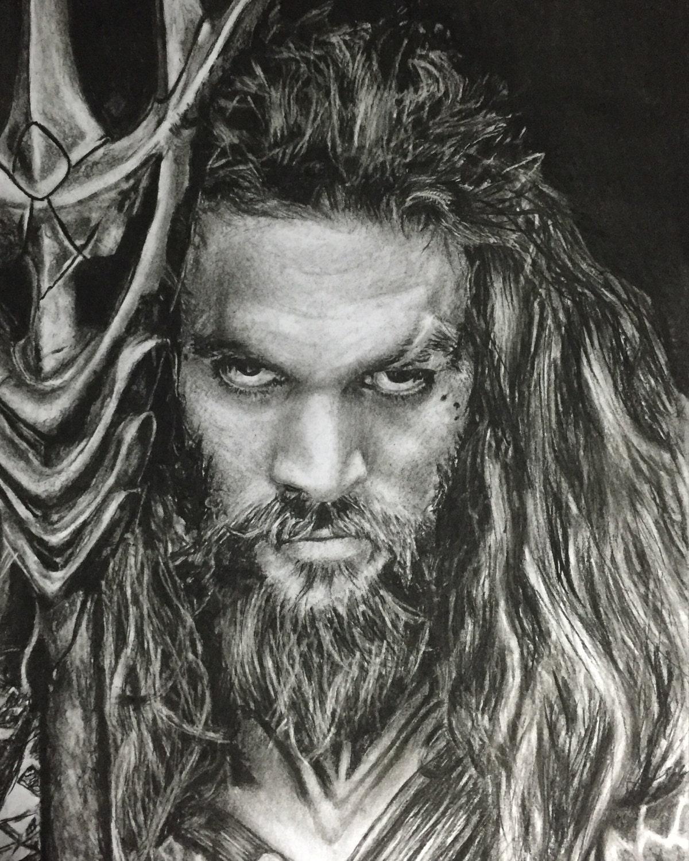 Jason Momoa Aquaman: A3 Aquaman/Jason Momoa Portrait Drawing