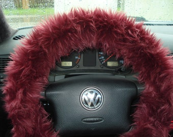 Burgundy Fuzzy Steering Wheel Cover, Car accesories,  Faux Fur Steering Wheel Cover, Furry Steering Wheel, Burgundy Steering Wheel Cover