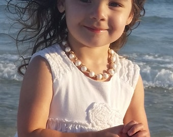 Beautiful large freshwater pearls & Leather Necklace Toddler/Little Girl/Baby's first pearls/Handmade/Boutique/Free shipping in US/