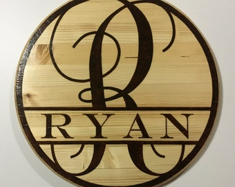 Custom Woodburned Monogram