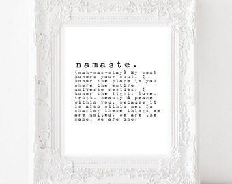 Namaste definition - typewriter art print